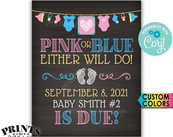 Pink or Blue Either Will Do Pregnancy Announcement, Expecting a Baby, PRINTABLE Baby Reveal Sign <Edit Yourself with Corjl>