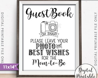 """Guestbook Photo Sign, Leave Photo and Best Wishes for the Mom-to-Be Sign Guest Book, Photo Guestbook, Instant Download 11x14"""" Printable Sign"""