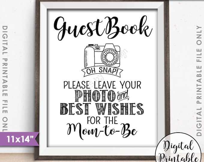 "Guestbook Photo Sign, Leave Photo and Best Wishes for the Mom-to-Be Sign Guest Book, Photo Guestbook, Instant Download 11x14"" Printable Sign"