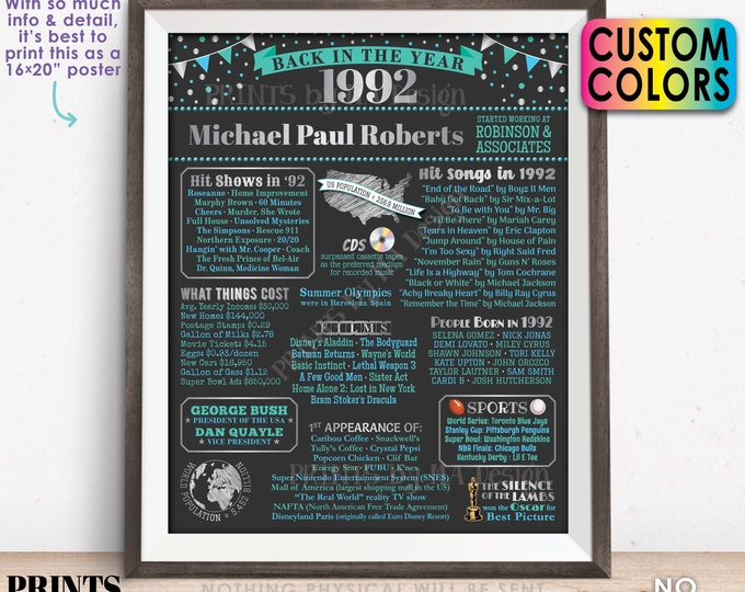 """Back in the Year 1992 Retirement Party Sign, Flashback to 1992 Poster Board, Custom PRINTABLE 16x20"""" Retirement Party Decoration"""