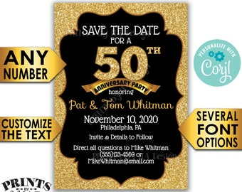 "Black & Gold Glitter Anniversary Party Save the Date, Golden Standard STD Invite, PRINTABLE 5x7"" Digital File <Edit Yourself with Corjl>"