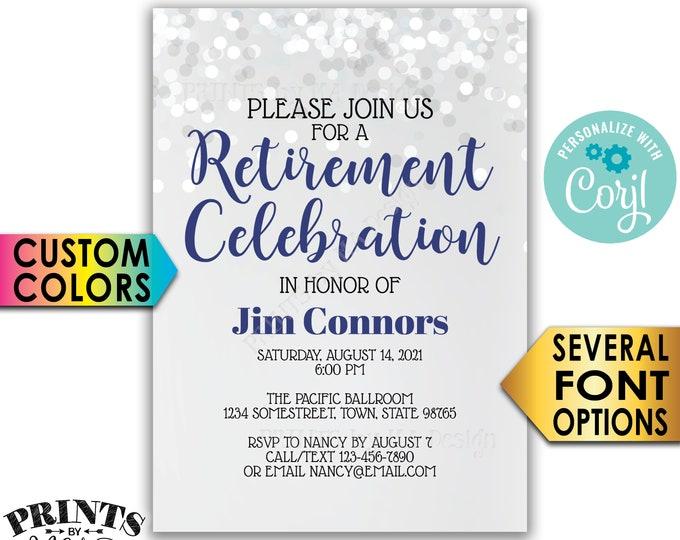 "Retirement Party Invitation, Retirement Celebration Invite, Retire, Custom PRINTABLE 5x7"" Glitter Style Invite <Edit Yourself with Corjl>"