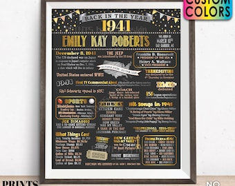 """Back in the Year 1941 Birthday Sign, Flashback to 1941 Poster Board, 1941 Birthday Gift, Custom PRINTABLE 16x20"""" B-day Decoration"""