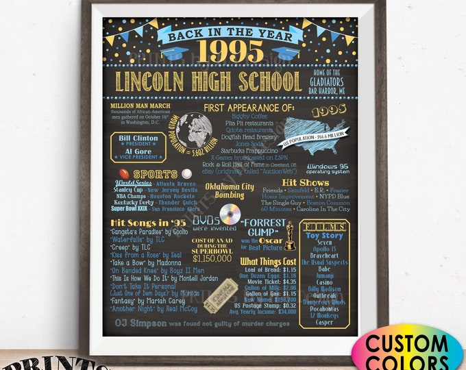 "Back in the Year 1995 Poster Board, Class of 1995 Reunion Decoration, Flashback to 1995 Graduating Class, Custom PRINTABLE 16x20"" Sign"