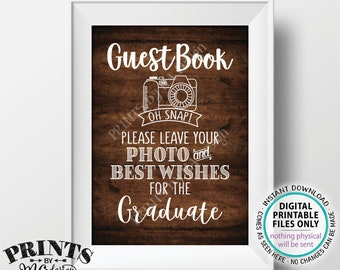 """Graduation Guestbook Sign, Leave Your Photo and Best Wishes for the Graduate, Rustic Wood Style PRINTABLE 5s7"""" Graduation Party Sign <ID>"""