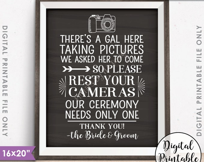"""Unplugged Wedding Sign, Only One Photographer, No Cameras at the Ceremony Sign, 16x20"""" Chalkboard Style Instant Download Digital Printable"""