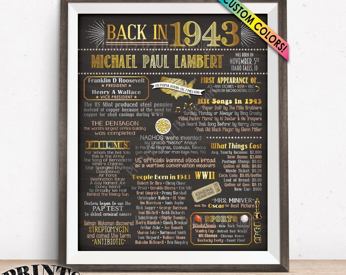"1943 Birthday Flashback Poster, Remember 1943 Birthday Party Poster Board, Custom PRINTABLE 16x20"" Back in 1943 B-day Sign"