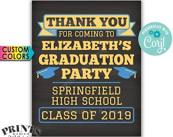 """Thank You for Coming to the Graduation Party Sign, PRINTABLE 8x10/16x20"""" Chalkboard Style Graduation Decorations <Edit Yourself with Corjl>"""