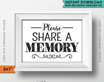 "Share a Memory Sign, Please Write a Memory, Share Memories, Birthday Party, Retirement Party, Black & White PRINTABLE 5x7"" Sign <ID>"