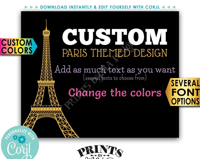 """Custom Paris-themed Sign, Choose Your Text, Change Colors, Eiffel Tower, PRINTABLE 8x10/16x20"""" Landscape Sign <Edit Yourself with Corjl>"""
