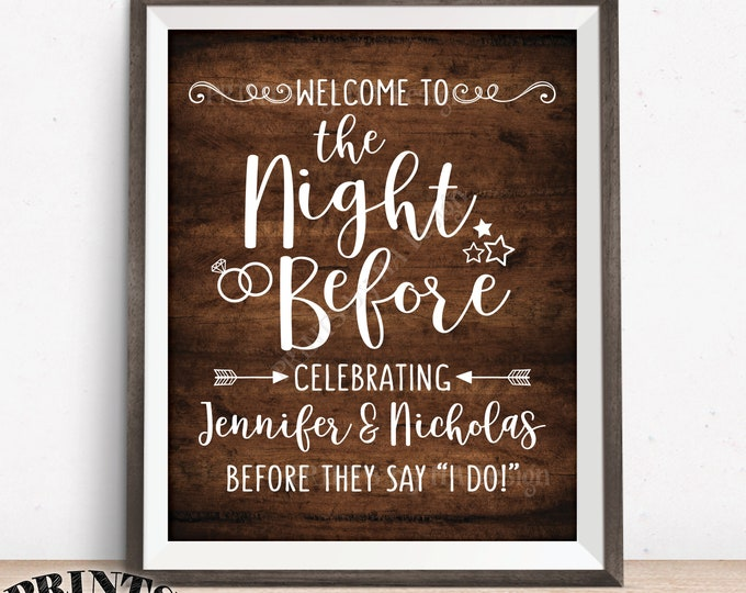 "The Night Before Sign, Welcome to the Night Before Rehearsal Dinner Sign, PRINTABLE 8x10/16x20"" Rustic Wood Style Wedding Rehearsal Sign"