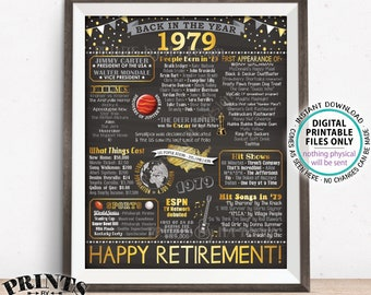 "Retirement Party Decorations, Back in 1979 Poster, Flashback to 1979 Retirement Party Decor, PRINTABLE 16x20"" '79 Sign <ID>"