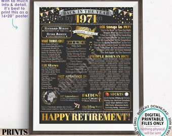 """Back in the Year 1971 Retirement Party Poster Board, Flashback to 1971 Sign, PRINTABLE 16x20"""" Retirement Party Decoration <ID>"""