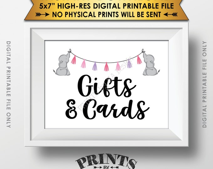 """Elephant Baby Shower Gifts and Cards Sign, Cards & Gifts Table Sign, It's a Girl Pink Baby Shower Decor Instant Download 5x7"""" Printable Sign"""