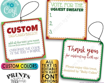 "Custom Christmas Tags, Voting Ballots, 3"" Square Cards on a Digital PRINTABLE 8.5x11"" File <Edit Yourself with Corjl>"