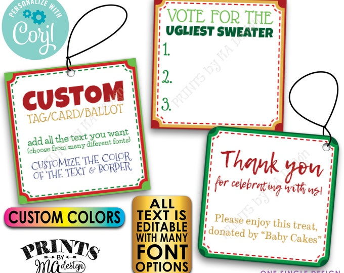 """Custom Christmas Tags, Voting Ballots, 3"""" Square Cards on a Digital PRINTABLE 8.5x11"""" File <Edit Yourself with Corjl>"""