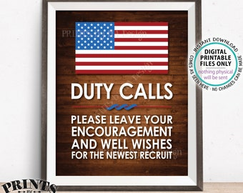 """Military Party Decor, Leave your Encouragement and Well Wishes, Boot Camp, Arned Forces, PRINTABLE 8x10/16x20"""" Rustic Wood Style Sign <ID>"""