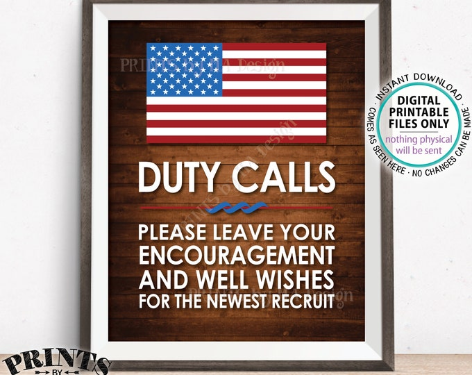 "Military Party Decor, Leave your Encouragement and Well Wishes, Boot Camp, Arned Forces, PRINTABLE 8x10/16x20"" Rustic Wood Style Sign <ID>"