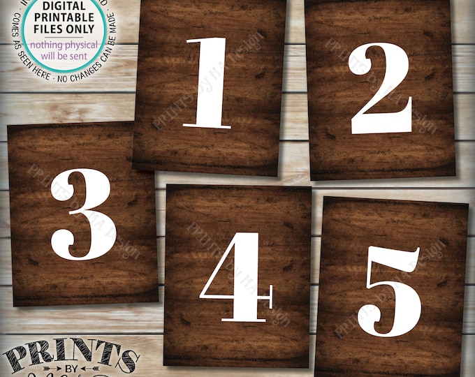 "Numbers 1 - 5 Signs, 1 2 3 4 5, Groups, Pregnancy Announcement, Birthday Party, Retreat, PRINTABLE 8x10/16x20"" Rustic Wood Style Signs <ID>"
