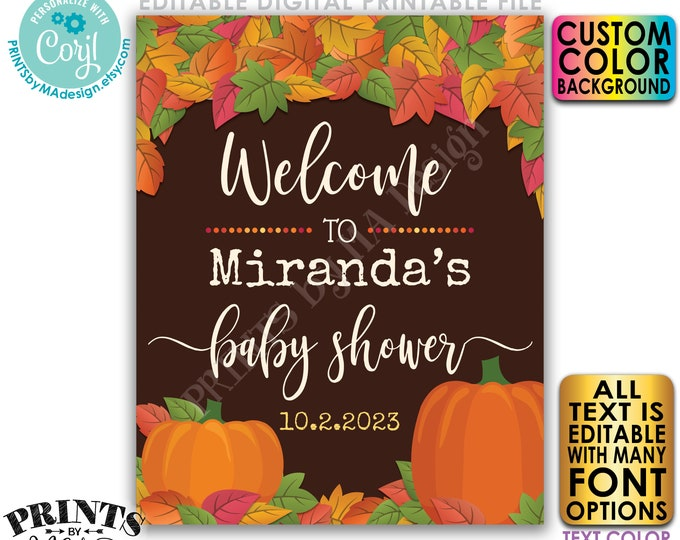 """Fall Themed Baby Shower, PRINTABLE 16x20"""" Editable Sign, Any Color Background, Fall in Love with Baby Welcome Poster <Edit Yourself w/Corjl>"""