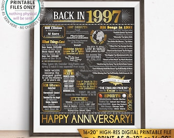 "1997 Anniversary Poster, Back in 1997 Anniversary Gift, Flashback to 1997 Party Decoration, PRINTABLE 16x20"" Sign <ID>"