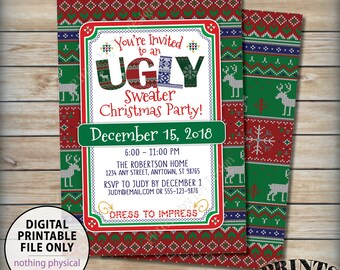 """Ugly Christmas Sweater Party Invitation, Ugly Sweater Party, Tacky Sweater X-mas Celebration, Xmas Party, PRINTABLE 5x7"""" Ugly Sweater Invite"""