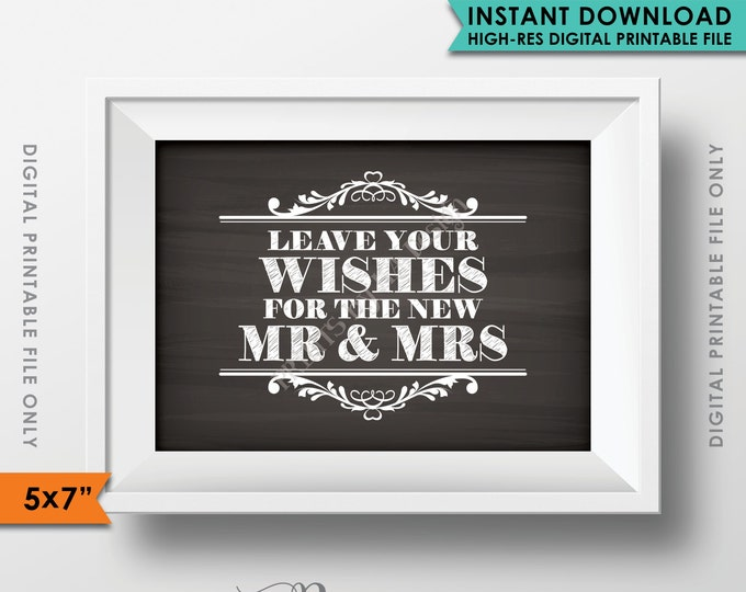 """Wishes for the New Mr & Mrs Sign, Leave Your Wishes, Advice, Wedding Wishes, Chalkboard Style 5x7"""" Instant Download Digital Printable File"""