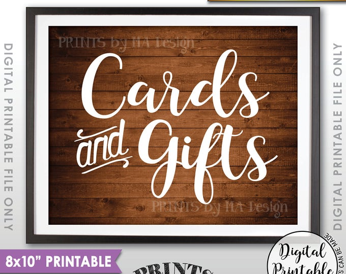 "Cards and Gifts Sign, Cards & Gifts Table Sign, Wedding, Birthday, Shower, Graduation, 8x10"" Rustic Wood Style Printable Instant Download"