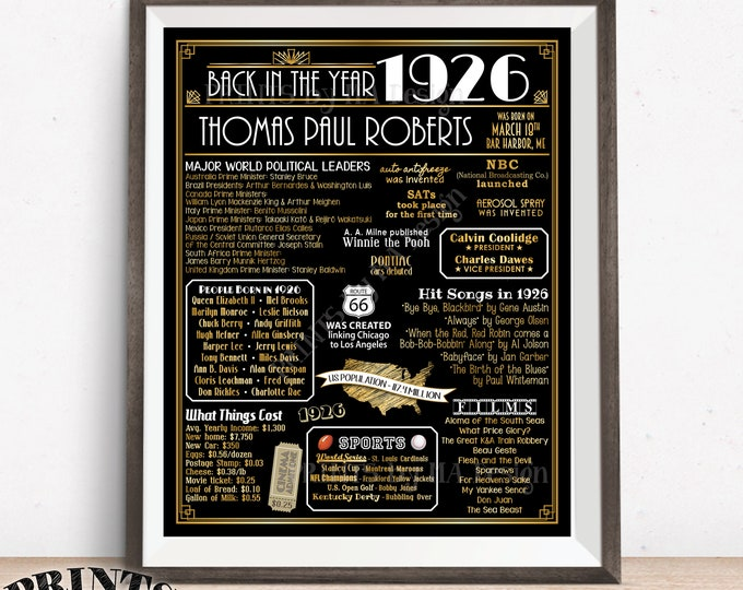 """Back in the Year 1926 Sign, Art Deco themed Flashback to 1926 Poster Board, 1926 Birthday Gift, Custom PRINTABLE 16x20"""" B-day Decoration"""