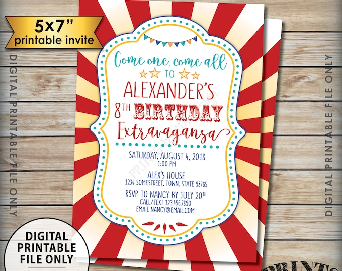 "Carnival Birthday Invitation, Circus Birthday Invitation, Carnival Party, Carnival Invite, Circus Invite, Digital 5x7"" PRINTABLE Bday Invite"