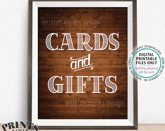 """Cards and Gifts Sign, PRINTABLE 8x10"""" Rustic Wood Style Gift Table Sign, Portrait <ID>"""