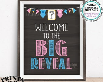 Welcome to the Big Reveal Gender Reveal Sign, Pink or Blue Gender Reveal Party Welcome Sign, Chalkboard Style PRINTABLE 8x10/16x20 Sign <ID>