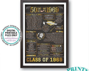"Back in 1969 Poster Board, Graduated 50 Years Ago, Class of 1969 50th Reunion Decoration, Custom PRINTABLE 24x36"" Sign"