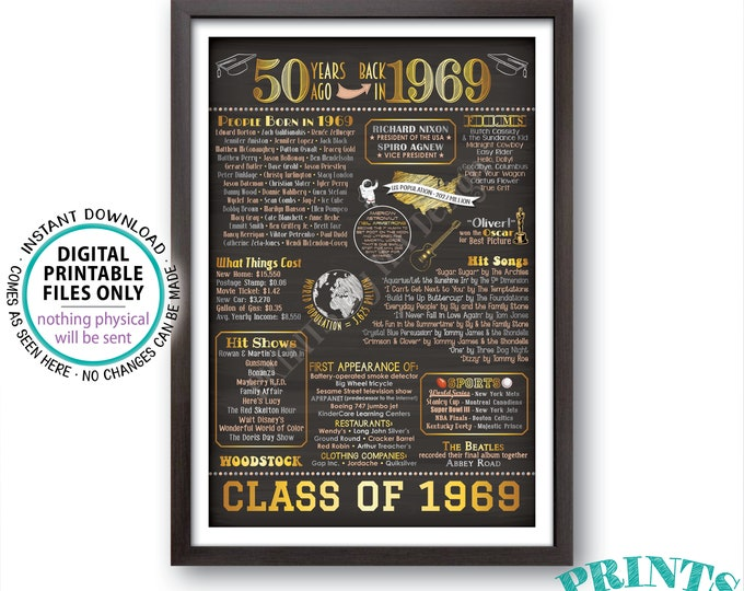 """Back in 1969 Poster Board, Graduated 50 Years Ago, Class of 1969 50th Reunion Decoration, Custom PRINTABLE 24x36"""" Sign"""
