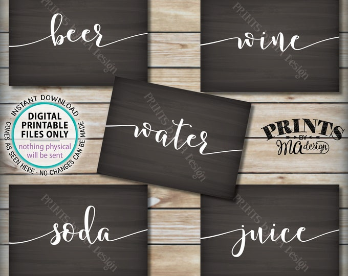 "Beverage Station Signs, Drink Signs, Soda Juice Water Beer Wine, Five PRINTABLE 5x7"" Chalkboard Style Signs <ID>"