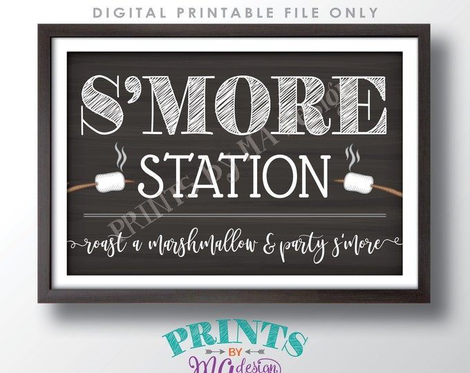 """S'more Station Sign, Roast a Marshmallow and Party S'more, PRINTABLE 24x36"""" Chalkboard Style Smore Sign <ID>"""