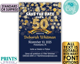 """Editable Navy Blue & Gold Glitter Birthday Party Save the Date invite, PRINTABLE 5x7"""" Golden Bday Invitation <Edit Yourself with Corjl>"""