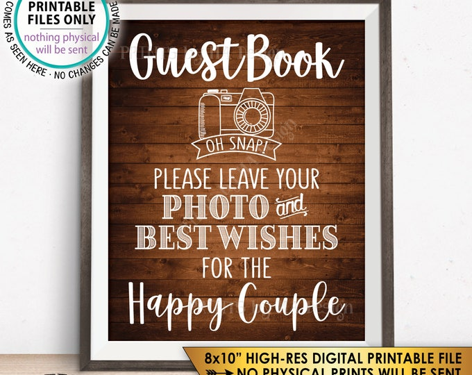 """Guestbook Sign Leave Photo and Best Wishes for the Happy Couple Wedding Sign Anniversary, Rustic Wood Style PRINTABLE 8x10"""" Instant Download"""