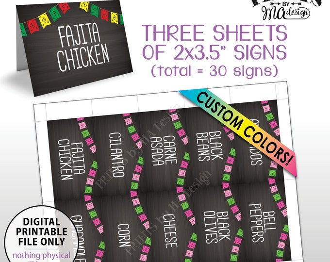 """Taco Bar Labels, Custom Color Flags Place Cards, Fiesta Mini Menu Signs, PRINTABLE 8.5x11"""" Sheets of Thirty 2""""x3.5"""" Chalkboard Style Labels"""