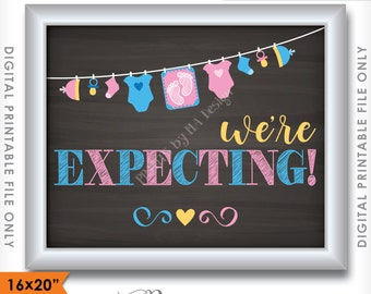 """We're Expecting Pregnancy Announcement, We're Pregnant Chalkboard Style Photo Prop, 16x20"""" or 8x10"""" Instant Download Digital Printable File"""