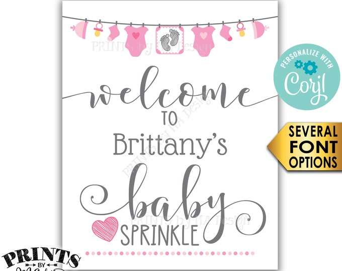 "Baby Sprinkle Welcome Sign, It's a Girl Pink Clothesline Baby Decor, Baby Number 2, PRINTABLE 8x10/16x20"" Sign <Edit Yourself with Corjl>"
