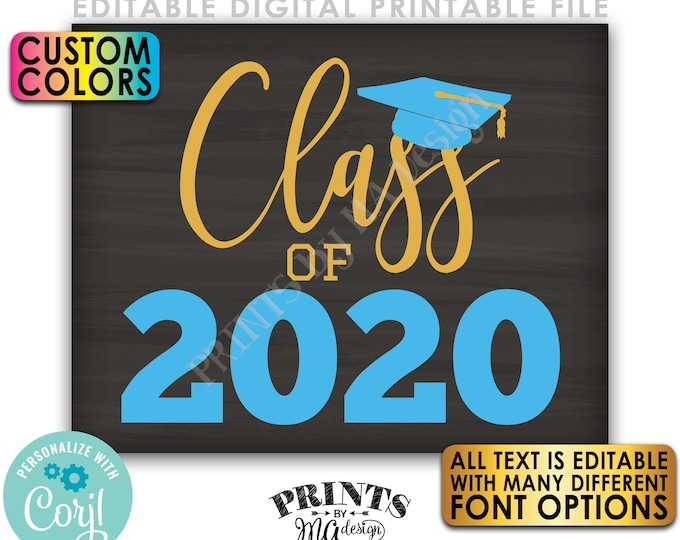 """Editable Class Of Year Sign, Any Year, Custom PRINTABLE 8x10/16x20"""" Chalkboard Style Graduation Party Decoration <Edit Yourself w/Corjl>"""
