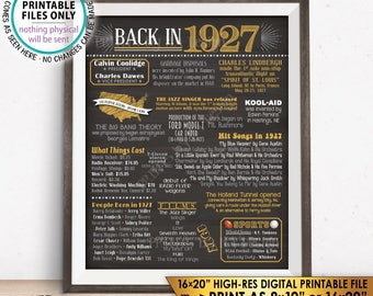 """1927 Flashback Poster, Flashback to 1927 USA History Back in 1927 Birthday Party, Born in 1927, PRINTABLE 16x20"""" Sign <ID>"""