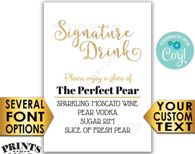 """Signature Drink Sign, Wedding Bar, Birthday Cocktail, Gold Glitter PRINTABLE 5x7"""" Drink Sign <Edit Yourself with Corjl>"""