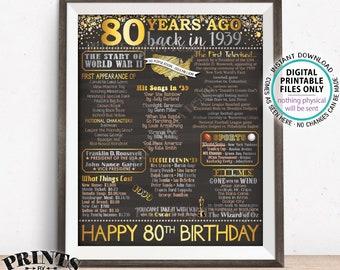 "80th Birthday Gift, Flashback 80 Years Ago Back in 1939 Born in 1939 Birthday, Gold, PRINTABLE 16x20"" B-day Sign <ID>"