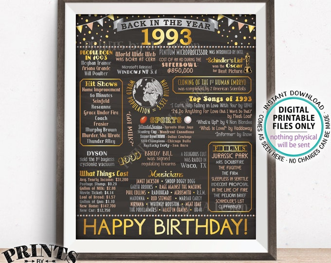 """Back in 1993 Birthday Poster Board, Flashback to 1993 Birthday Decoration, 1993 B-day Gift, PRINTABLE 16x20"""" Sign <ID>"""