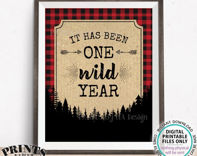 "It has been One Wild Year Lumberjack First Birthday Party Decor, PRINTABLE 8x10/16x20"" 1st B-day Red Checker Buffalo Plaid Table Sign <ID>"