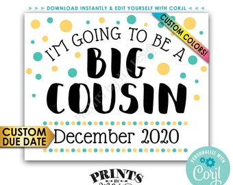 "Cousin Pregnancy Announcement Sign, I'm Going to Be a Big Cousin, PRINTABLE 8x10/16x20"" Baby Reveal Sign <Edit Yourself with Corjl>"