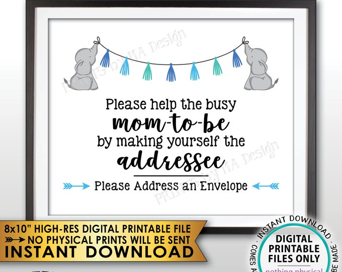"Address an Envelope Sign, Elephant Baby Shower Help the Busy Mom-to-Be Sign, Blue Baby Shower Decor, PRINTABLE 8x10"" Baby Shower Sign <ID>"