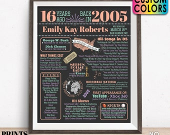 "16th Birthday Poster Board, Sweet Sixteen Bday Decor, Back in 2005 Flashback 16 Years Ago B-day Gift, Custom PRINTABLE 16x20"" 2005 Sign"